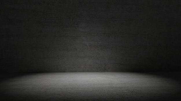 Habitación de hormigón en luz oscura rodeada de fondo de pared