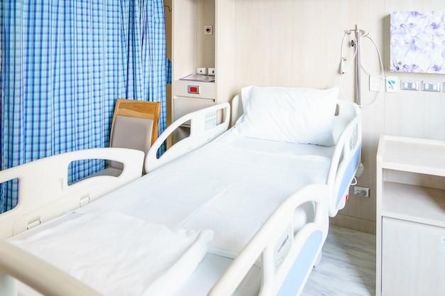 Habitación de hospital con camas y cómodo equipamiento médico en un hospital moderno.