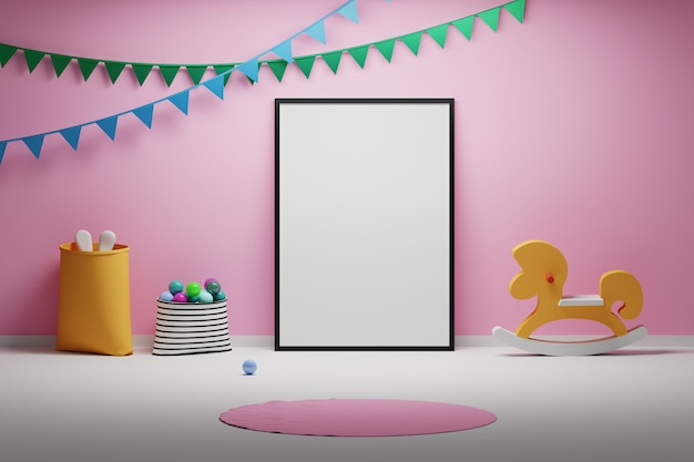 Habitación infantil para bebés con juguetes de marco en blanco vacío y banderas decorativas