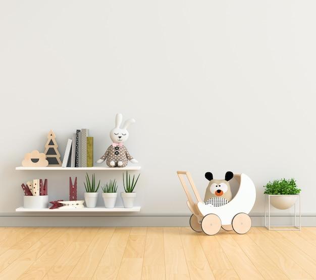 Habitación infantil blanca con estantes y juguetes.