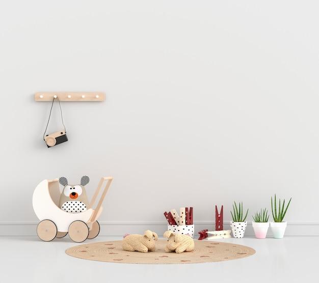 Habitación infantil blanca con plantas y juguetes.
