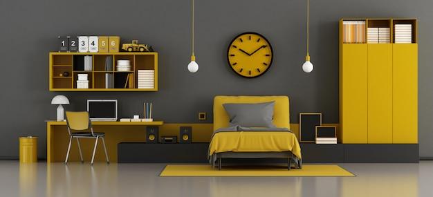 Habitación infantil negra y amarilla