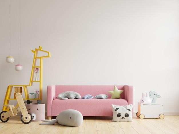 Habitación infantil con sofá y juguetes. representación 3d.
