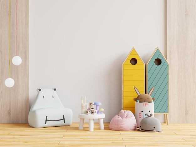 Habitación infantil con sofá para niños en la pared blanca. representación 3d
