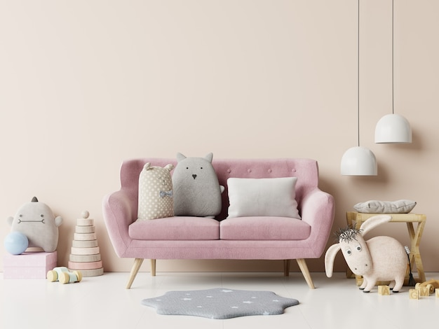 Habitación infantil con sofá rosa sobre fondo de pared blanca vacía. representación 3d