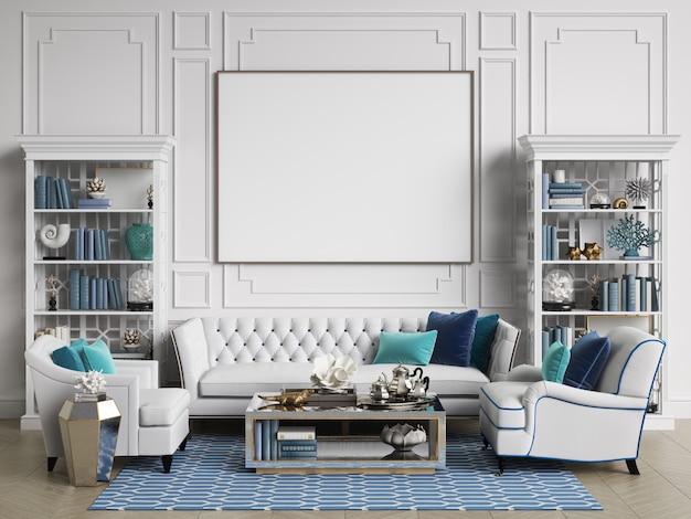 Habitación interior clásica en colores azul y blanco con espacio de copia.
