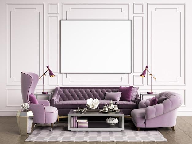 Habitación interior clásica con espacio de copia representación 3d