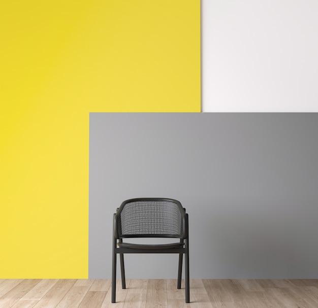 Habitación interior gris oscuro moderna con una silla
