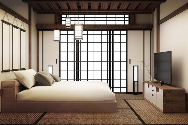 Habitación, interior de la habitación de cama japonesa tiene lámpara y tv inteligente. representación 3d