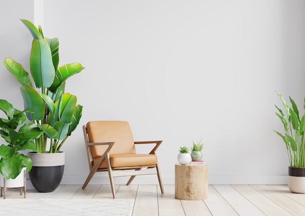 Habitación interior moderna con bonitos muebles con sillón de cuero sobre fondo de pared blanca vacía, renderizado 3d