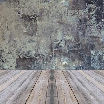 Habitación interior vintage con pared gris y fondo de piso de madera