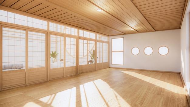 Habitación japonesa estilo interior tropical, gran habitación vacía interior. renderizado 3d