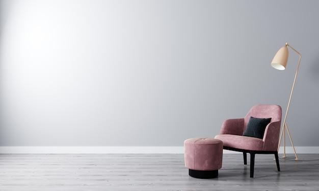 Habitación luminosa con paredes blancas y muebles modernos en estilo escandinavo para maqueta. salón para maqueta. representación 3d