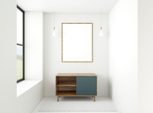 Habitación mínima 3d con marco elegante