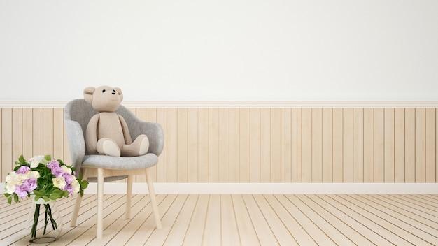 Habitación de niños o decoración de sala de estar con flores - representación 3d