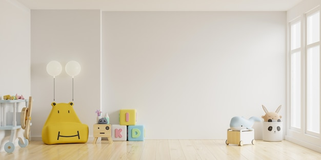 Habitación de los niños en la pared de color blanco claro background.3d representación