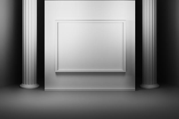 Habitación con una pared con marco de cuadros y columnas.