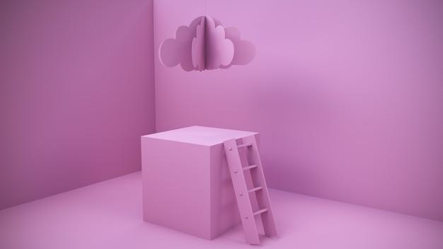 Habitación rosa abstracta con podio y escaleras