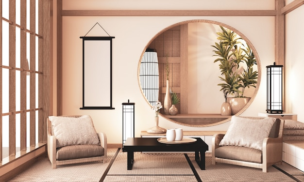 Habitación ryokan muy zen con estante de madera en la pared y suelo de tatami, tono tierra de la habitación representación 3d