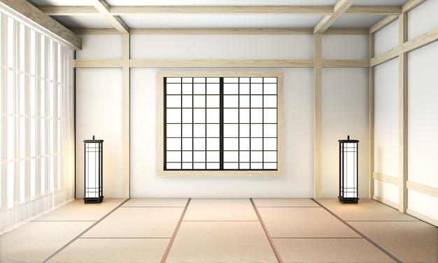 Habitación ryokan vacía estilo zen muy japonés con piso de tatami. renderizado 3d
