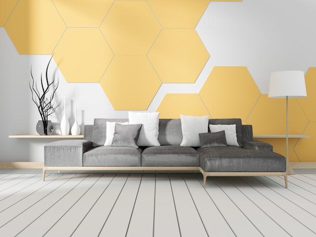 Habitación con sofá y pared de azulejos hexagonales amarillos. representación 3d