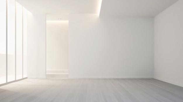 Habitación vacía en apartamento u hotel para diseño de interiores de obras de arte - renderizado 3d