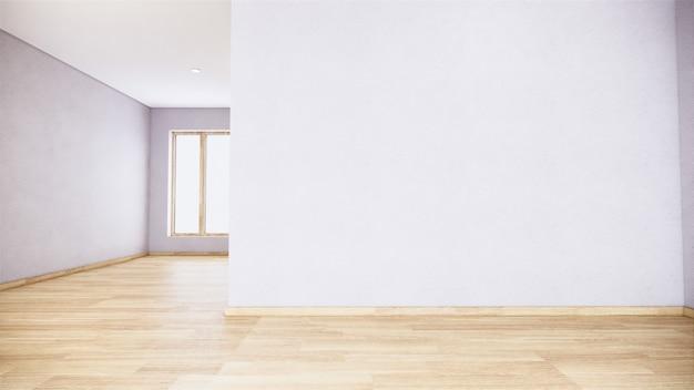 Habitación vacía blanca en diseño interior de piso de madera representación 3d