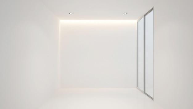 Habitación vacía blanca para obras de arte, representación 3d terior