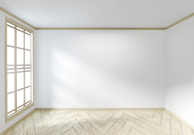 Habitación vacía blanca sobre diseño interior de piso de madera