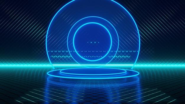 Habitación vacía, círculo de luz azul neón, fondo futurista abstracto, concepto ultravioleta, render 3d
