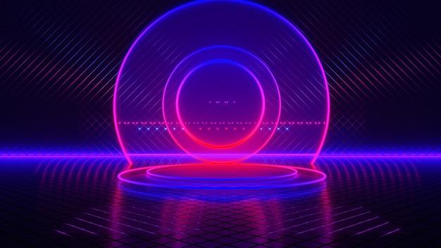 Habitación vacía, círculo de luz de neón, fondo futurista abstracto, concepto ultravioleta, render 3d