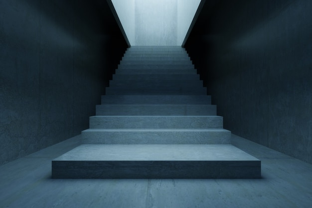 Habitación vacía, escalera de hormigón y pared de cemento. fondo de arquitectura abstracta