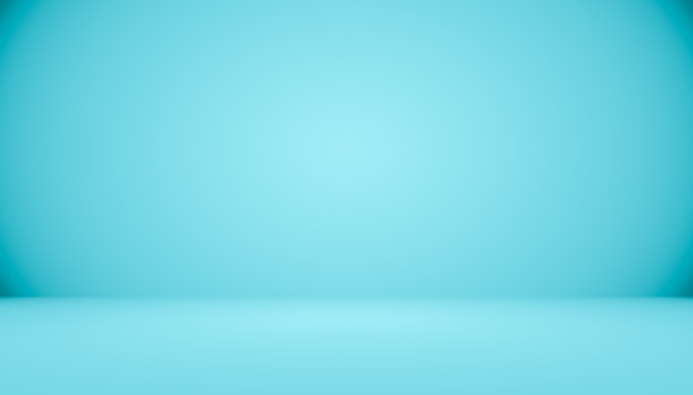 Habitación vacía de fondo abstracto azul degradado con espacio para el texto y la imagen.