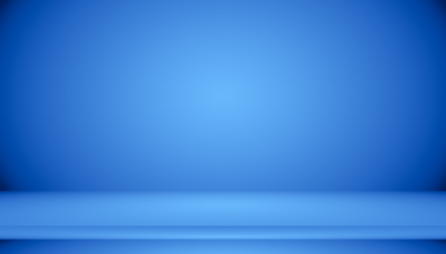 Habitación vacía de fondo abstracto degradado azul con espacio para texto e imagen