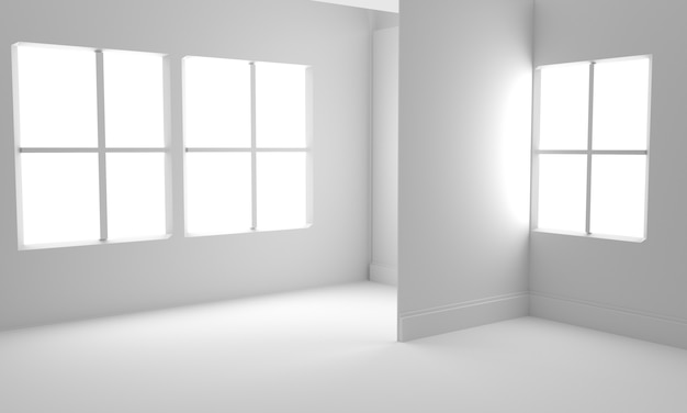 Habitación vacía interior fondo blanco. ilustración de render 3d