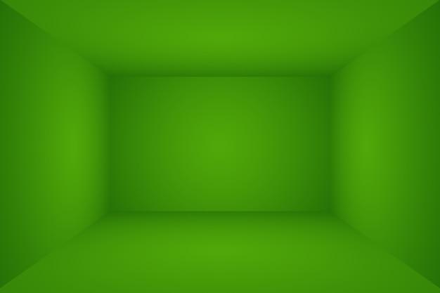 Habitación vacía de lujo con fondo de estudio abstracto degradado verde liso con espacio para texto e imagen