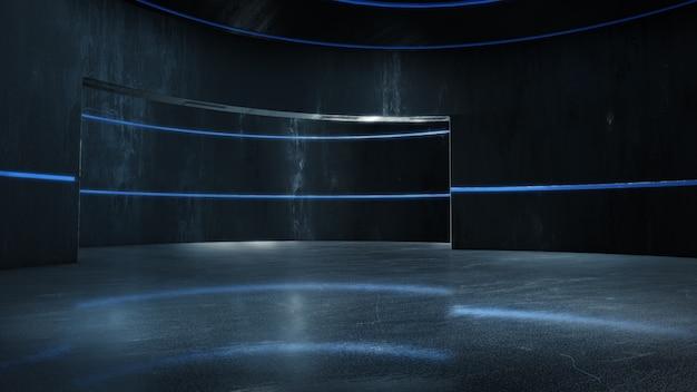 Habitación vacía con luz brillante, espacio abstracto representación 3d