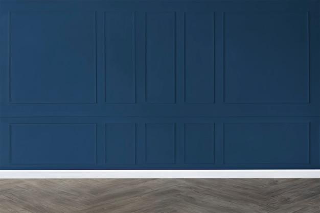 Habitación vacía con maqueta de pared estampada azul