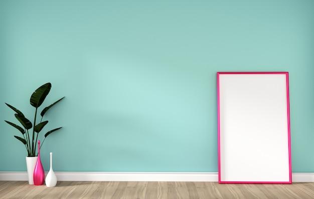 Habitación vacía con marco de color rosa en el piso de madera dura y menta pared representación 3d