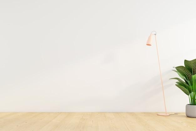 Habitación vacía minimalista con lámpara de pie en la pared blanca. representación 3d