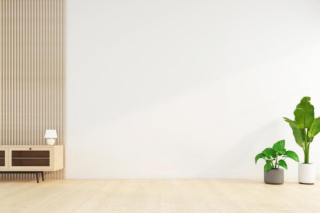 Habitación vacía minimalista con pared blanca y planta verde. representación 3d