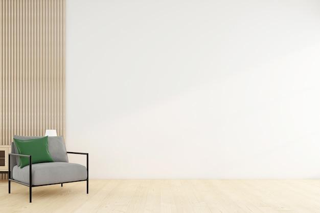 Habitación vacía minimalista con sillón y pared blanca. representación 3d