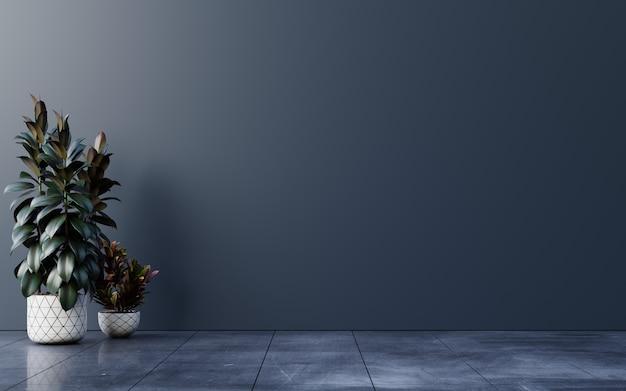 Habitación vacía de pared oscura con plantas en un piso, renderizado 3d