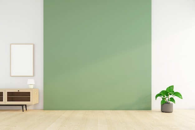 Habitación vacía con pared verde y planta verde. representación 3d