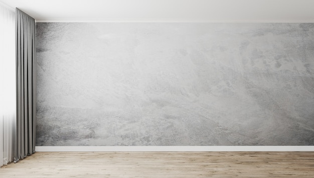Habitación vacía con pared de yeso decorativo gris y piso de madera, ventana con cortinas grises, pared vacía, renderizado 3d