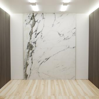 Habitación vacía con paredes de mármol, paredes laterales de madera y luces en la parte superior representación 3d.