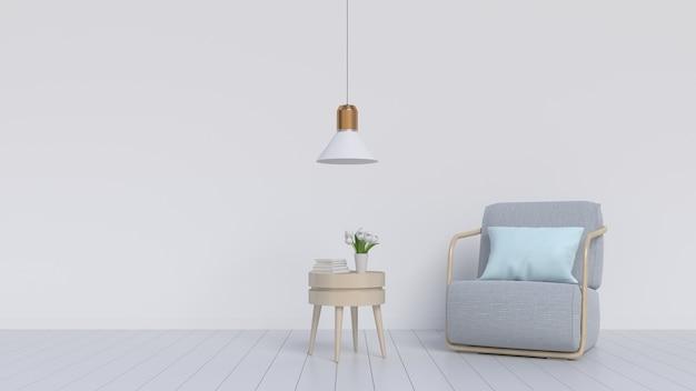Una habitación vacía con pisos de madera, sillón y lámparas