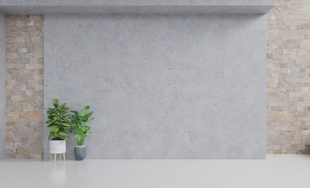 Habitación vacía con plantas maqueta tiene piso de madera en la pared de estuco