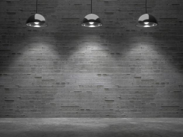 Habitación vacía con punto de luz, en blanco para la exhibición de productos representación 3d.
