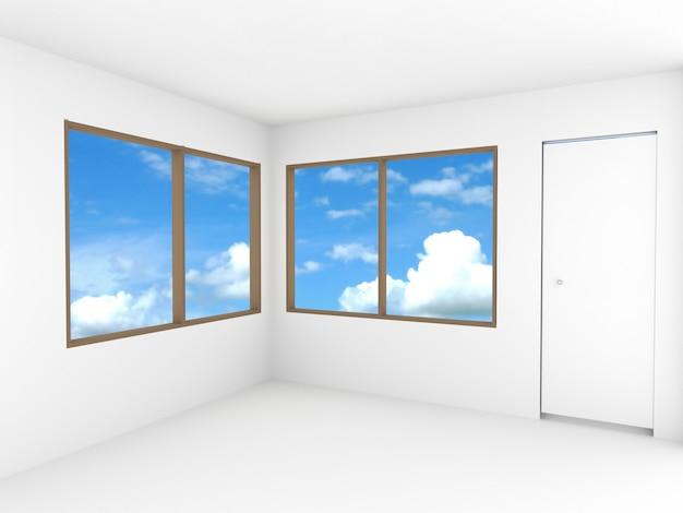 Habitación vacía con ventana y puerta.